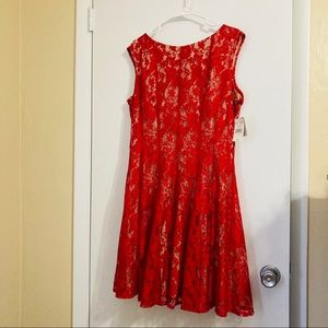 Danny & Nicole Modest Lacy Red Sexy Cocktail Dress